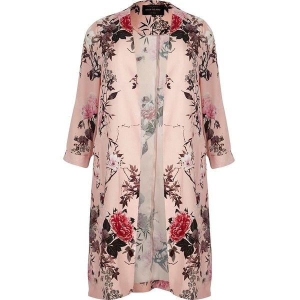 River Island RI Plus pink floral print duster jacket (380 BRL) ❤ liked on Polyvore featuring outerwear, jackets, pink jacket, long sleeve jacket, river island, plus size jackets and flower print jacket