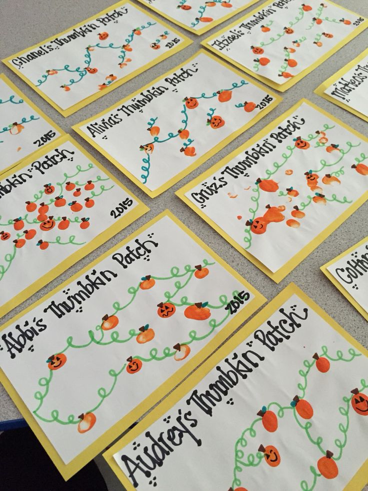Cute fall fingerprint craft for kids! Make thumbkin patches. (No link.)