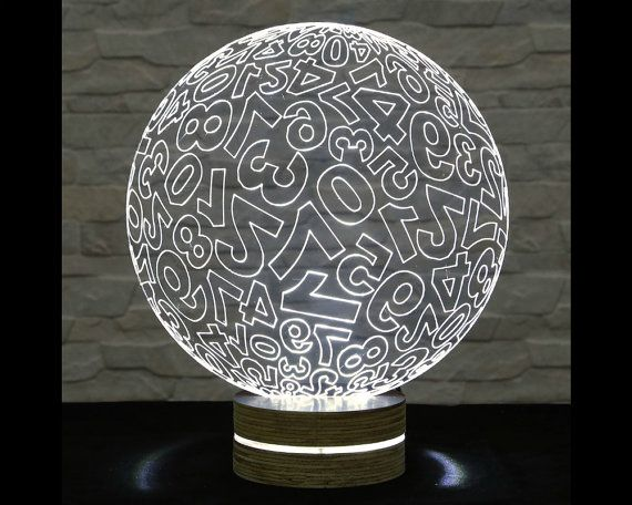 Numbered Sphere Shape, 3D LED Lamp, Office Decor, Desk Lamp, Home Decor, Plexiglass Lamp, Decorative Lamp, Nursery Light, Acrylic Lamp by ArtisticLamps