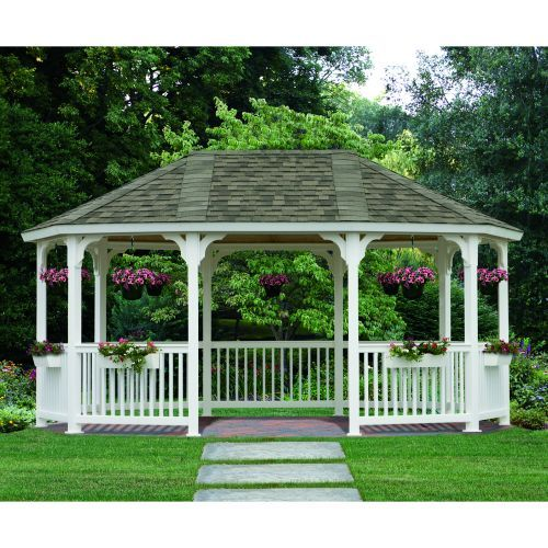 white trim larger Gazebo with flowers