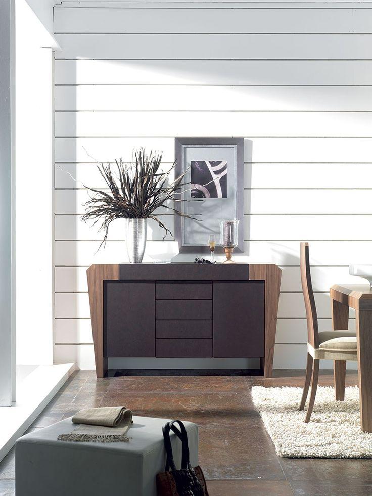 Buffet-bahut convertible en bureau secrétaire MIA, coloris chêne moyen et PU noir