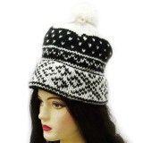Stylish Women Cap Indian Wool Blend Hand Knitted Black Hat Winter Wear Accessory