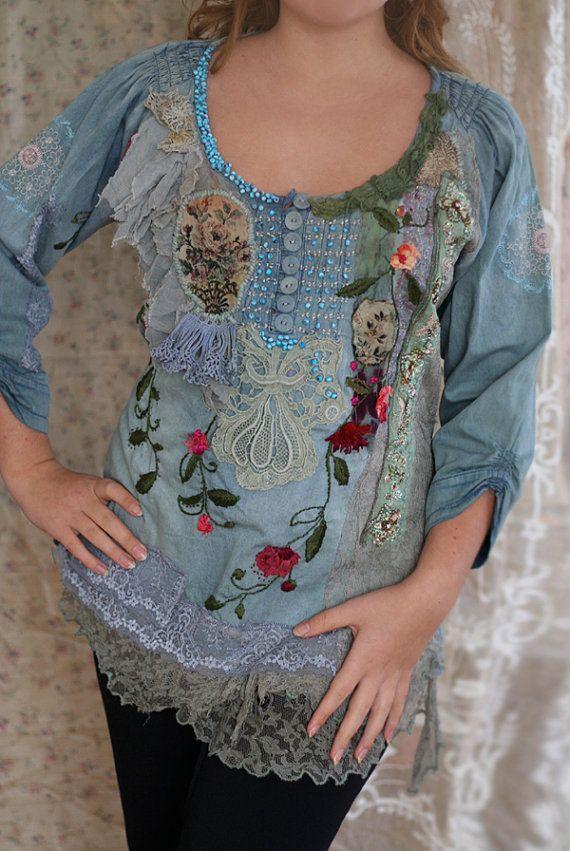 Flower Duetromantische gestickt Bluse Textile Collage