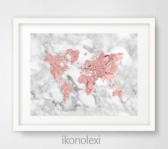 Rose Gold World Map, Rose World Map, World Map Poster, Marble World Map, Modern Map World, World Map Wall Art, Rose Gold Bedroom Decor by Ikonolexi on Etsy