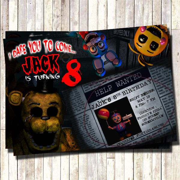 Five nights at freddy s pizza party and invitations on pinterest