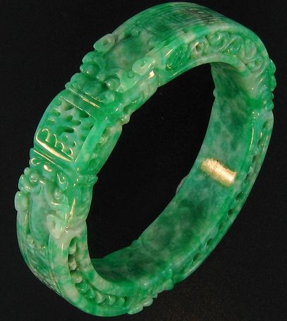 Natural Green Jadeite Bangle, Carved With Dragons This Item Is Guaranteed Grade A Jadeite