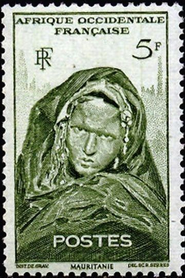 French West Africa 1947 Definitives - Local Motives | Mauritanian Woman. Designed and Engraved by Raoul Serres
