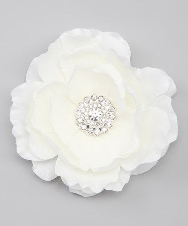 Take a look at this Charlotte Rose Couture Ivory Flower Clip by Charlotte Rose Couture on #zulily today!