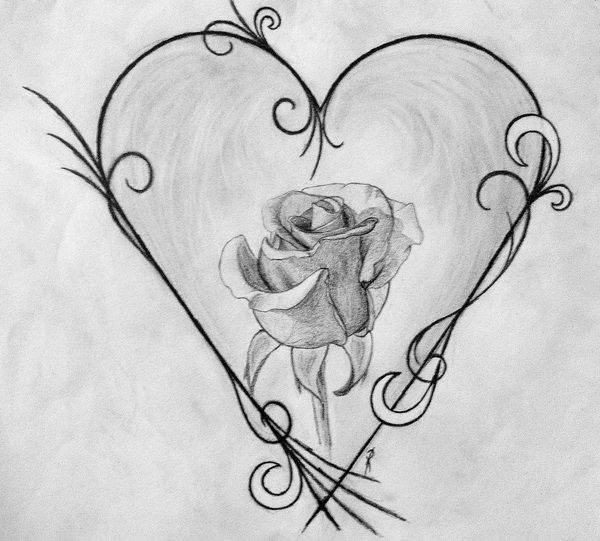 25 best ideas about heart drawings on pinterest heart for Cool rose drawings