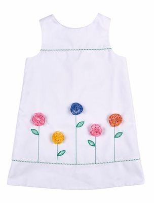 Florence Eiseman Girls White Pique Shift Dress - Colorful Flowers