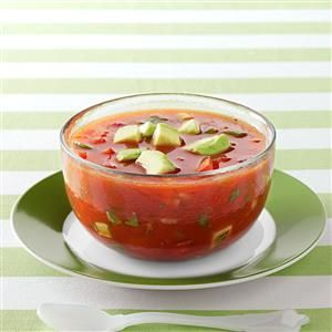 Refreshing Gazpacho Recipe -When fresh garden tomatoes are available, I make this soup. The recipe looks like a lot of ingredients, but most of them are common pantry items. —Amy Gurganus, Plymouth, North Carolina