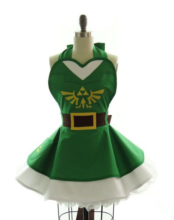 Retro Apron - Legend of Zelda Link Sexy Womans Aprons - Vintage Apron Style - Superhero Pin up Rockabilly Cosplay