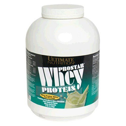 Ultimate Nutrition ProStar Whey Protein, Pure Natural Flavor, 5.28-Pound Tub by Ultimate Nutrition. $50.75. You get more Whey per serving with Ultimate Nutrition ProStar Whey Protein. Contains only naturally occurring amino acids from 100-percent premium whey protein. Contains no wheat, or casein. Ultimate Nutrition's ProStar Whey includes all the whey protein fractions such as Beta Lactoglobulin, Alpha Lactalbumin, Glycomacropeptide, Immunoglobulins, Protease Peptones, ...
