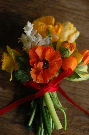 bruidsmeisjes boeket- orange-geel-wit