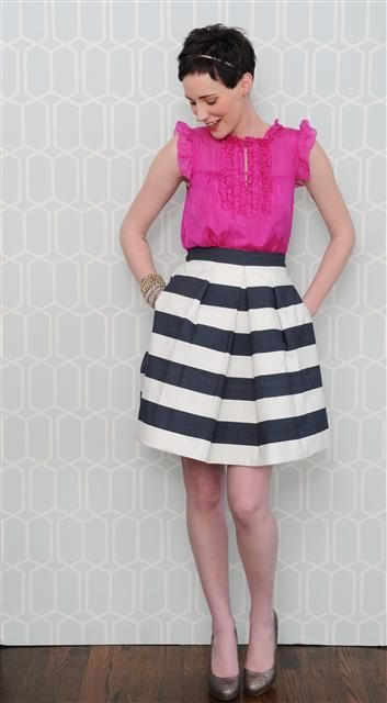 Love it all...: Party Outfit, Flynn Skirt, Style, Color, Black And White, Black White, Striped Skirts