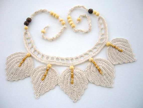 Hand Crochet Natural Linen  Necklace Choker by CraftsbySigita,  www.etsy.com/shop/CraftsbySigita