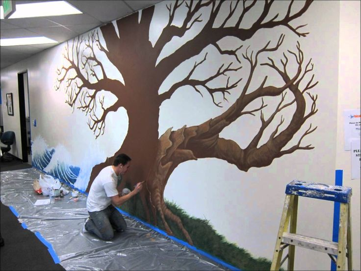 Local splash family tree mural project youtube trees for 7 habits tree mural