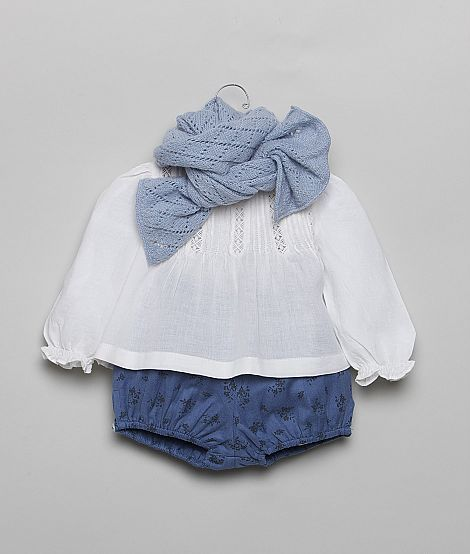 Blue #bloomers, white blouse and knitted scarf #kids #clothes