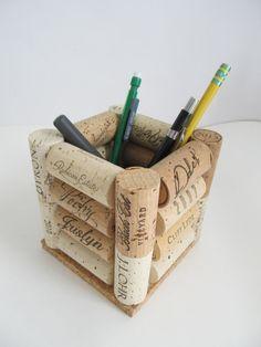 Wine Cork Pen Pencil Holder Desk Accessory by LizzieJoeDesigns
