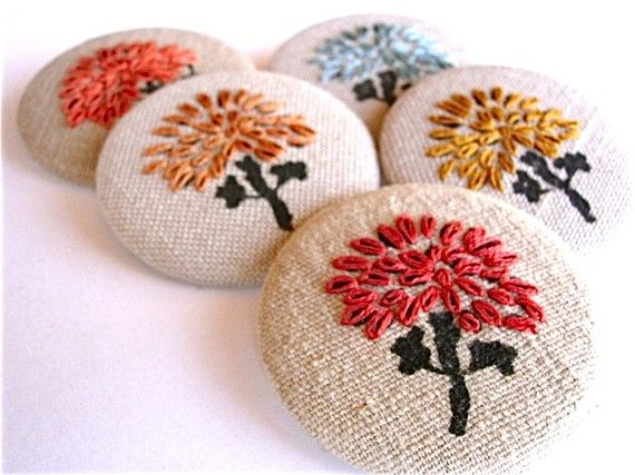 Hand Embroidered Fabric Brooch Tree