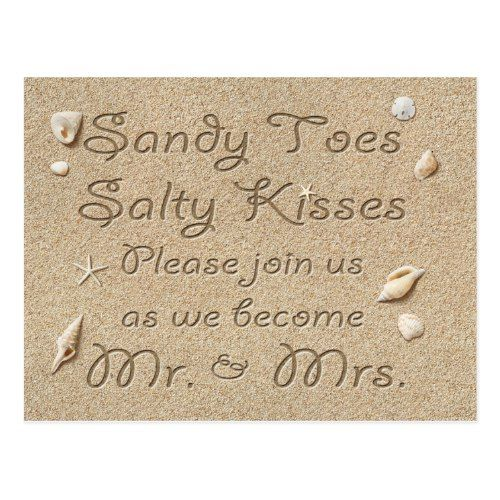 Beach Sandy Toes Salty Kisses Save the Date Postcard