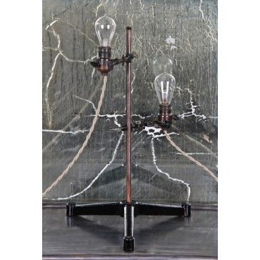 Repurposed Vintage Industrial Scientific Laboratory Retort Stand Table Or  Desk Lamp With Double Clamp Incandescent Bare Bulb Sockets   Laboratory  Furniture ...