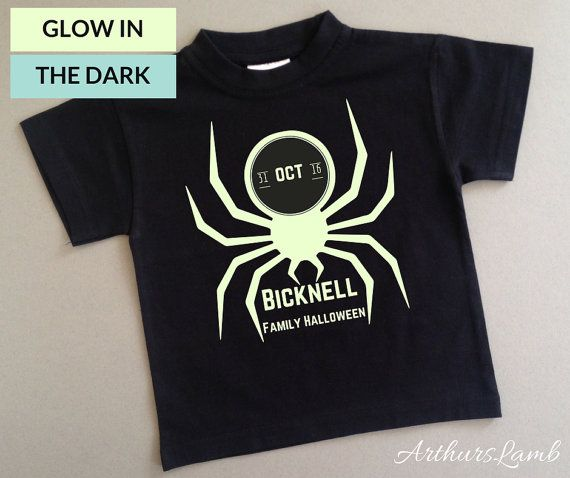 Having a family Halloween party?? Why not mark the occasion with this personalised Glow in the Dark Spider t-shirt !! These Halloween shirts can be personalized with any family name and make great Halloween party favors too!!  When ordering, please note the name required in Comments to Seller box during checkout.  I only use t-shirts made from 100% cotton fabric. I personally customised the design and apply all the designs to ensure a high quality product. This t-shirt is produced on a black…