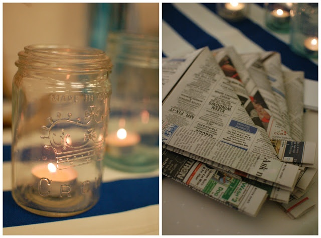 nautical sailor themed party:  jars with candles and newspaper sailor hats