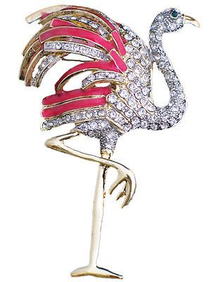 RHINESTONE-FLORIDA-CARIBBEAN-ISLAND-PINK-FLAMINGO-BIRD-PIN-BROOCH-JEWELRY-3-5-034-LG