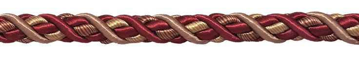 "Large Burgundy Taupe Baroque Collection 7/16"" Decorative Cord Without Lip Style# 716BNL Color: CRANBERRY HARVEST – 8612 (Sold by The Yard)"