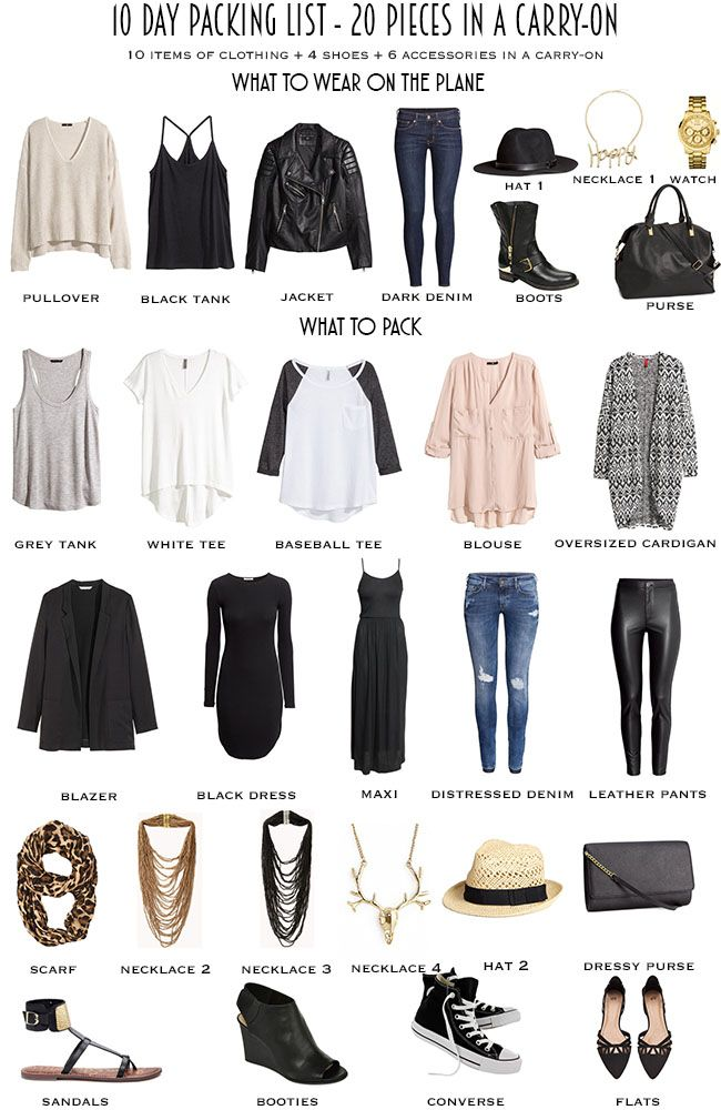 This ten day packing list that I came up with basically gives you 20 outfits with the ability to make more if needed and it is all completed with 20 pieces in the carry-on plus what you wear on the plane.