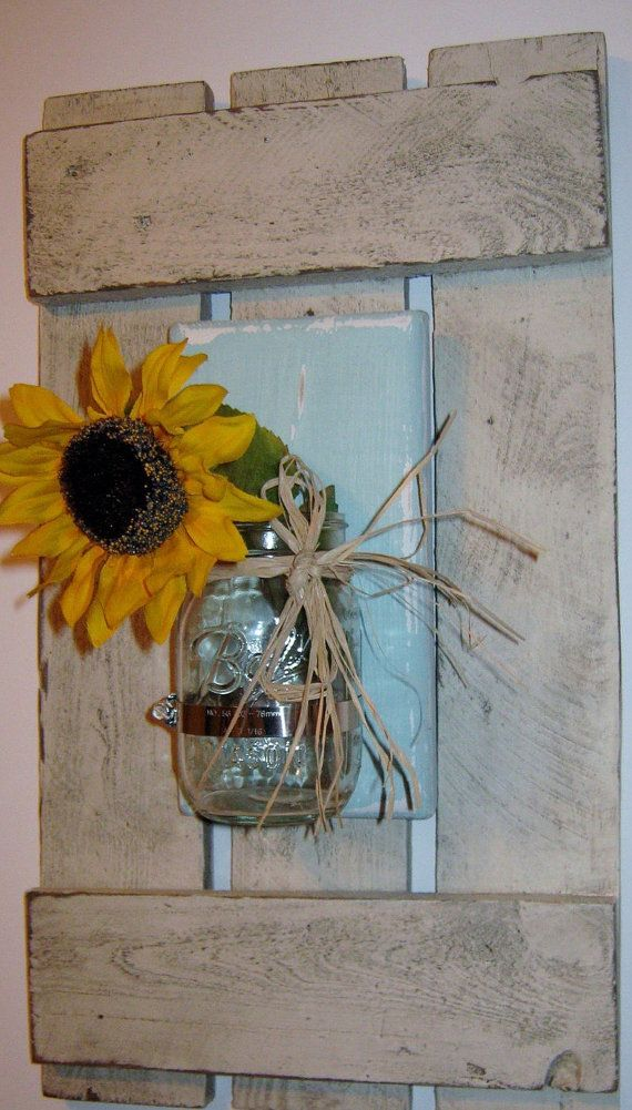 Mason Jar Wall Sconce on Wood Pallet Shutter by pineterracetreasures. Explore more products on http://pineterracetreasures.etsy.com