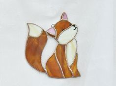 Stained glass fox suncatcher window hanging by ClearerImage
