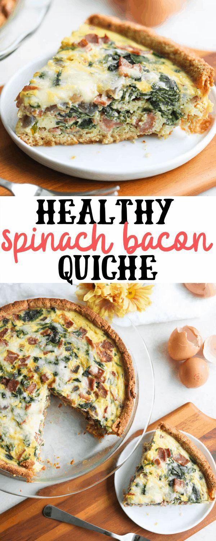 Healthy Spinach Bacon Quiche Recipe Quiche Recipes Easy Quiche Recipes Healthy Quiche Recipes