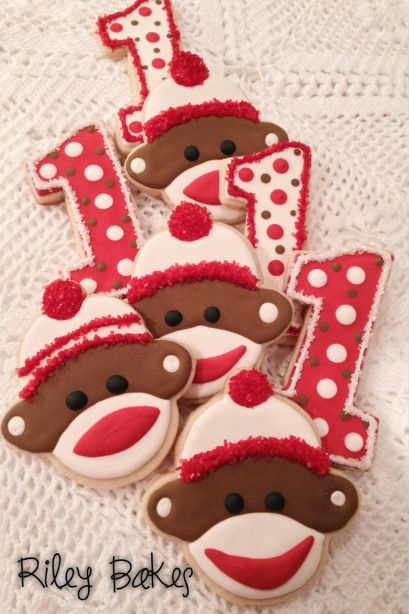 Sock Monkey Cookies - made to order custom decorated sugar cookies!