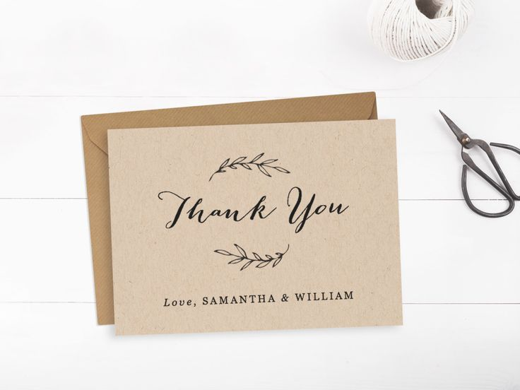 Printable wedding thank you card template, Editable text and color, Rustic thank you card, INSTANT DOWNLOAD, Edit in Word or Pages by PaperDainty on Etsy https://www.etsy.com/ca/listing/229553321/printable-wedding-thank-you-card