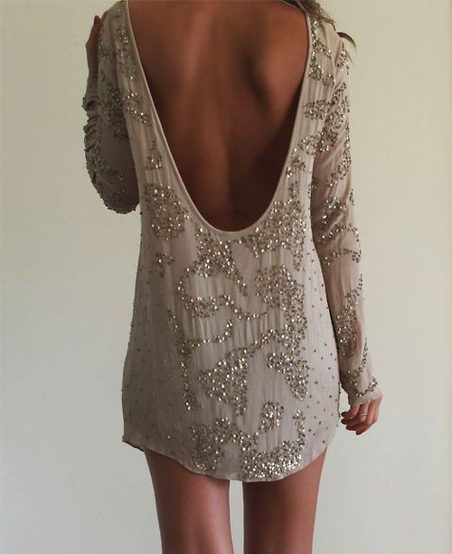 Micro mini backless & beaded taupe cocktail dress
