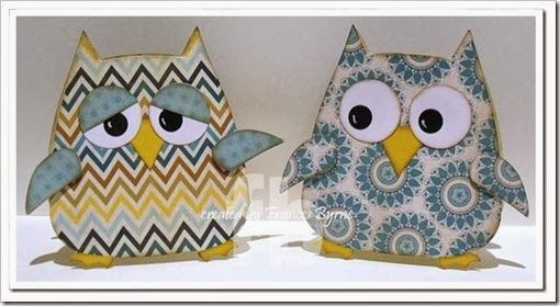 handmade cards ...  chubby owls ... adorable shaped cards ... great personality in the eyes ... gray, yellow and white ... tooo cute!!