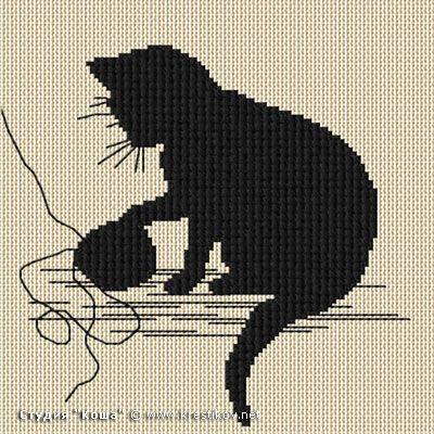"Scheme ""Kitten with a ball"" | cross-stitch from the studio ""Kosh"""