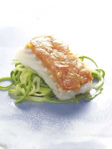 Recepten - Kabeljauw met tomatencompote en courgettespaghetti