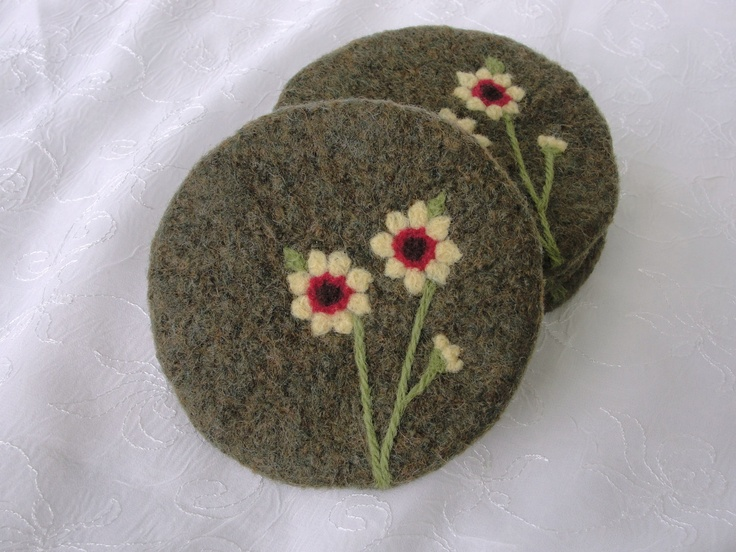 Wool Felted Coasters with Sunflower Needle Felted Design. $32.00, via Etsy.