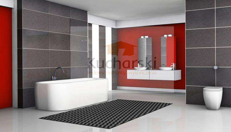 Minimalistyczna łazienka w tonacji czerwono szarej