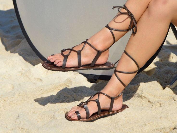 Grecian Super Strappy Handmade Gladiator Sandals, 100% Cow Leather, Dark Choc #KinkyOctopus #Gladiators #Casual