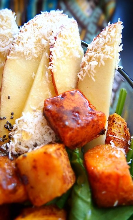 Cinnamon Roasted Butternut Squash Salad with Honey Coconut Apples over ...