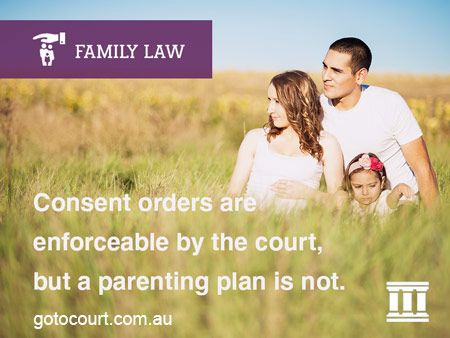 The law that governs family law, including a breach of orders is the Family Law Act. When a parenting order is made, either by way of consent orders or after a hearing by the court, every person affected by the order must comply with all of the terms of the order.   Read more: Breach of Orders | Children | Family and Divorce Lawyers, Link: https://www.gotocourt.com.au/family-law/breach-of-orders-children/