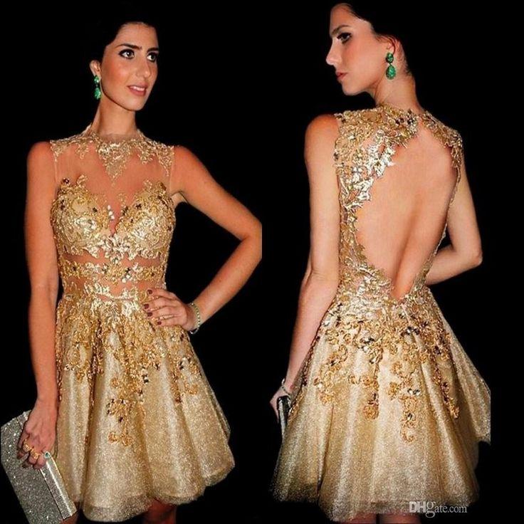 Funkelnde Gold Homecoming Kleider spitze Appliques perlen Sexy Cocktailkleider Kurze Abendkleider vestido de formatura //Price: $US $99.00 & FREE Shipping //     #clknetwork