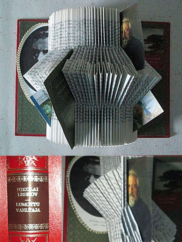 Want to honour this famous writer and his book - Altered book Nikolay Leskov Lumottu Vaeltaja - Kirjailijaa kunnioittaen - vanha kirja uudessa muodossa.