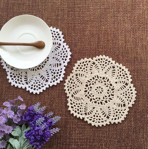 Set of 12 pcs, Color options, Floral hand crochet doilies,nice for home decor #Handmade