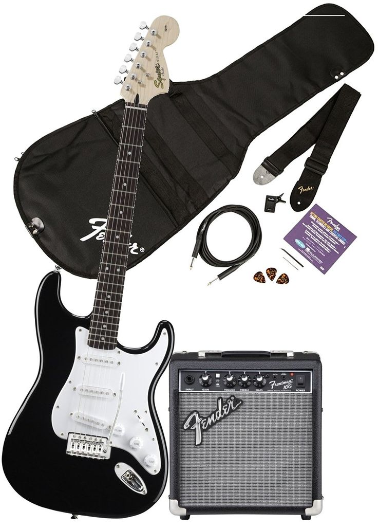 Squier by Fender Affinity Stratocaster Beginner Electric Guitar Pack with Fender FM 10G Amplifier, Clip-On Tuner, Cable, Strap, Picks, and gig bag - Black. Chord with comfort and bend strings with ease from this Strat's 'C' shaped satin finished neck, 21 medium jumbo frets and modern 9.5 fingerboard radius. Explore Jazz to Punk Rock sounds from the Strat's 3 single coils pickups, two tone controls, master volume and the 5 way pick up selector switch. Express yourself and create sharp and...
