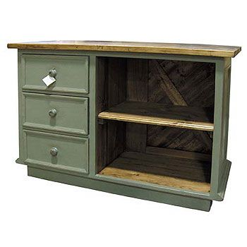 French Country Kitchen Island Three Vertical Drawers - French Country Furniture - Kate Madison Furniture